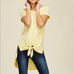 Yellow Hi Low Tie Front Tunic